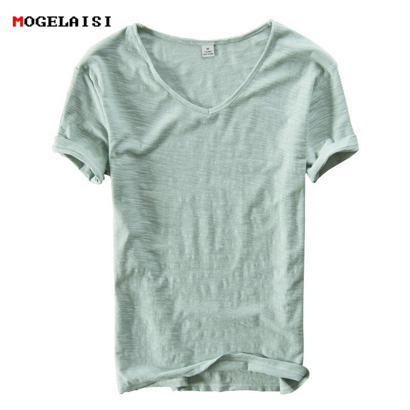 Летняя мужская футболка из льна и хлопка, Мужская футболка с коротким рукавом и треугольным вырезом, дышащая, мягкая, свободная, тонкая, бела...
