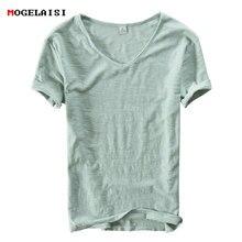 Camiseta de linho masculina de algodão, de manga curta, com decote em v, respirável, macia, solta, branca, tamanho asiático M-XXXL 201