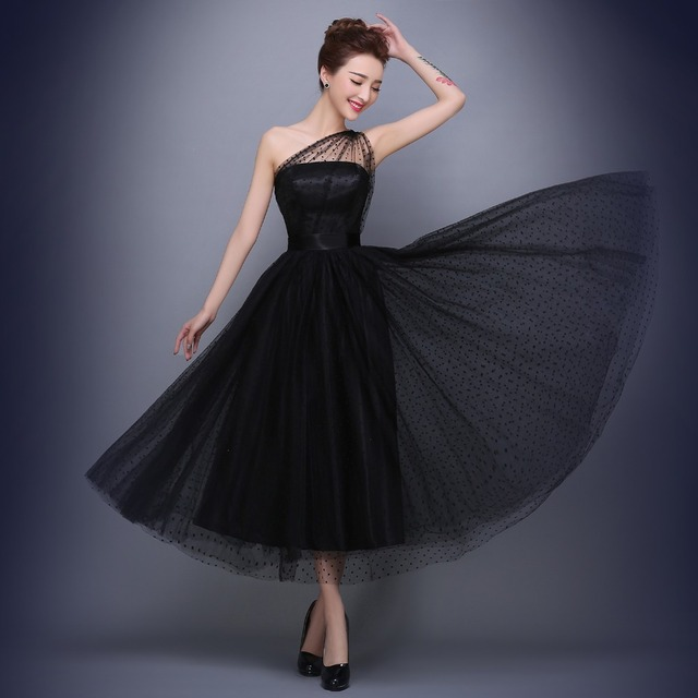 Best Selling Black Prom Dresses One Shoulder Pleats Polka Dot Tulle Tea Length Party Evening Gowns Short Vestido De Festa 4