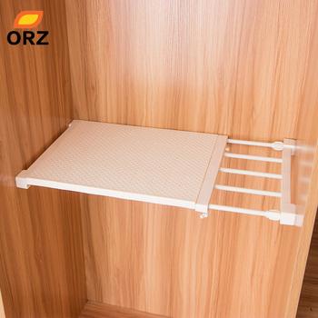 ORZ chowany szafa organizator półka regulowana kuchnia uchwyt do przechowywania w szafce szafka szafa na ubrania organizator półka łazienkowa tanie i dobre opinie 107729 107740 Śruba typu wstawianie Składany stojak Odzież Pojedyncze Przechowywanie posiadaczy i stojaki STAINLESS STEEL