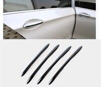 Stainless Steel Black Titanium Door Handle Cover Molding Strip Trim 4pcs Set For BMW 5 Series