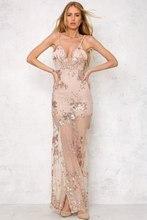 Sequined Fringed Deep V-Neck Maxi Dress