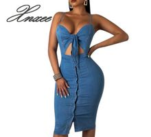 Xnxee European and American solid color straps with exposed navel denim dress