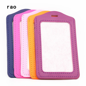 Luxury quality 616 PU Leather material card sleeve sets ID Badge Case Clear Bank Credit Card Badge Holder School student office