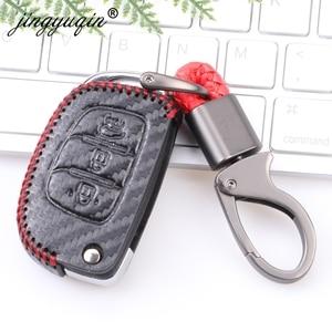 Image 4 - Carbon Leather Key Case Key Fob Cover Keychain For Hyundai Creta Tucson Elantra Santa Fe ix25 ix35 i20 i30 HB20 Verna Mistra