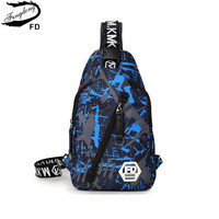 FengDong Blue Camouflage Male Chest Bag Waterproof Oxford Fabric One Shoulder Women Travel Bags Men Casual
