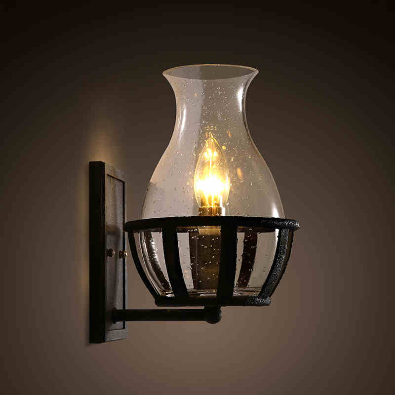 American retro restaurant balcony corridor lamp bedside glass lamp iron study wall lamp free shipping