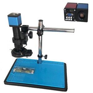 Image 1 - Cámara de microscopio Industrial de 13MP, salida HDMI VGA, lente de montaje en C 180X 300X, grabadora de vídeo de luz LED 56 para soldadura PCB