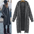 Autumn Winter Euro Style High Quality Fashion Womens Gray Knitting Hooded Outwear Female Long Sweaters Cardigan Coats Free Size