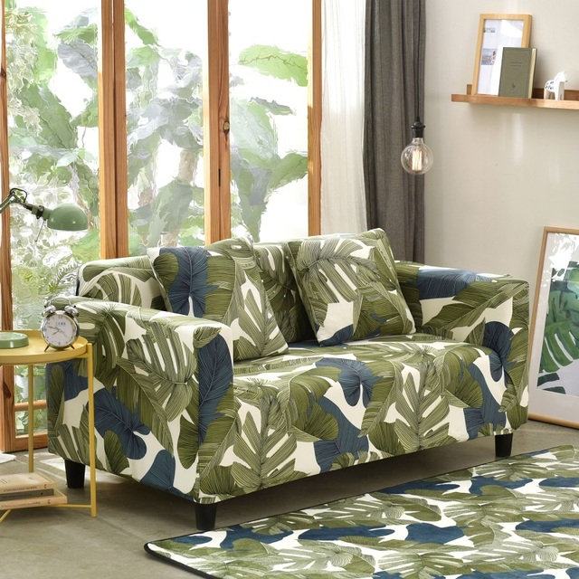 TUEDIO Tropical Plants Print Slipcover Sofa Cover Elasticity Stretch  Polyester Sofa Covers Soft Fabric Four Seasons