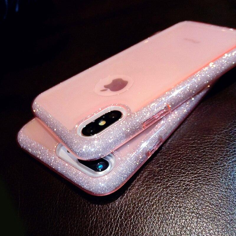 Crispyfish Étoiles Glitter Scintillant Transparent Souple TPU Cas Pour iPhone 7 8 Plus Téléphone Retour Cas Pour 6 6 s X XS XR XS MAX