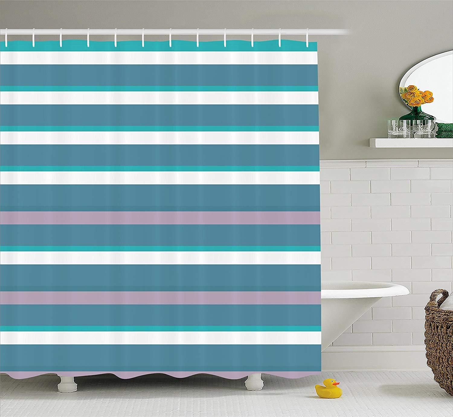 Us 15 99 36 Off Striped Shower Curtain Turquoise Dark Teal Stripes Thick And Thin Lines With Aqua Colors Pattern Art Print Fabric Bathroom Decor In