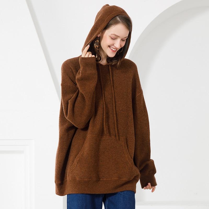 Femmes D'hiver Épais Pull Chandail Cachemire gray Col 100 ivory Brown Femelle À Pur Doux Cavaliers Capuchon Chaud Roulé Tricoté Femme qtAqw8fE