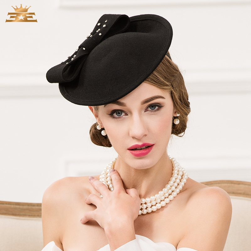 Lady Vintage Wool Hat Black Wool Pillbox Hat with Veil Wedding Party  Fascinator Hats for Women Chapeau Pour Mariage B-7534 dbe4df3c9da