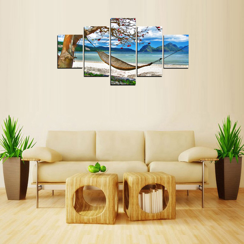 Home & Garden Home Decor 2019 Fashion Art Pictures Living Room Decoration Kids Posters Modern 5 Panel Moon Star Steep Cliff Trees Swing Home Wall Hd Print Painting Comfortable And Easy To Wear