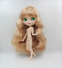 Blygirl,Blyth doll,Light blonde curly hair, new face doll, 19 joint body, nude doll, can give her makeup and clothes blygirl blyth doll black curly doll no 114bl58 joint body 19 joints white body