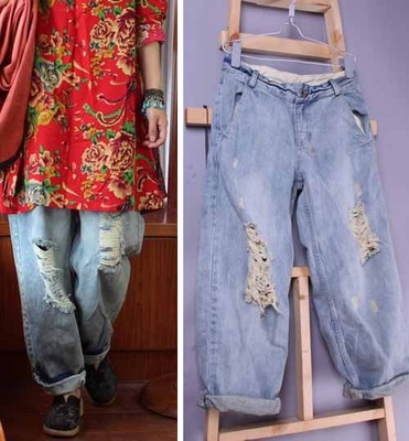 2015 spring and summer new products listed, loosely coupled with the size of the jeans casual pants woman beggar pants pants colorful brand large size jeans xl 5xl 2017 spring and summer new hole jeans nine pants high waist was thin slim pants