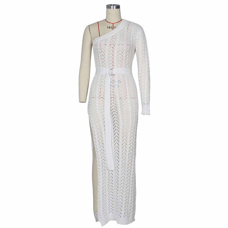 2019 novas mulheres crochê malha bikini cover ups dividir beachwear sexy único ombro longo praia vestido túnica branco robe de plage