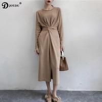 JOYDU 2018 New Korean Brief Designer Women Knitted Dress Long Sleeve Twist Knot Lace Up Split Autumn Long Dress Bandage Dresses