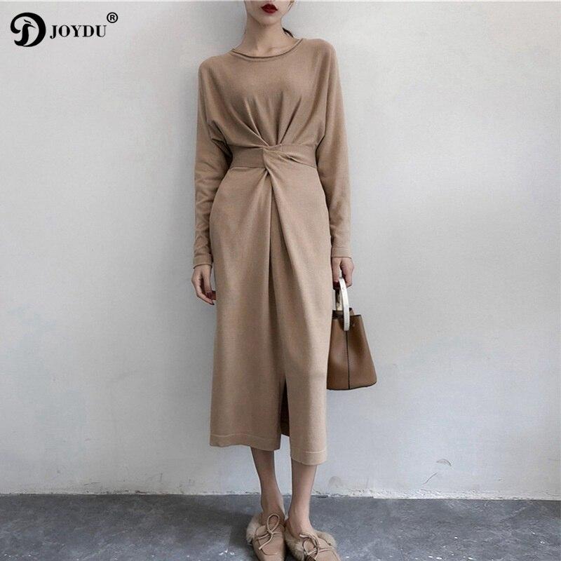 JOYDU 2018 nuevo coreano breve diseñador mujeres Vestido de punto de manga larga Twist Knot Lace Up Split otoño vestido largo vendaje vestidos