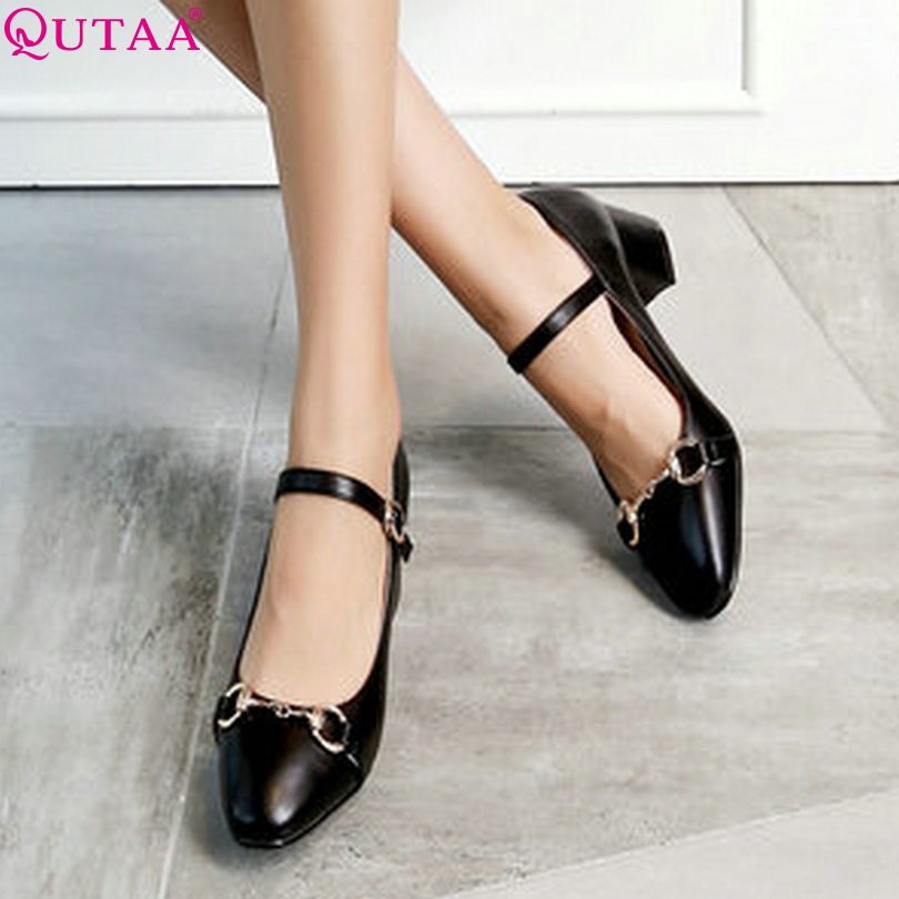 ФОТО QUTAA 2017 Women Pumps Spring Ladies Shoes Square Med Heel PU leather Buckle Ankle Strap Woman Wedding Shoes Size 34-43