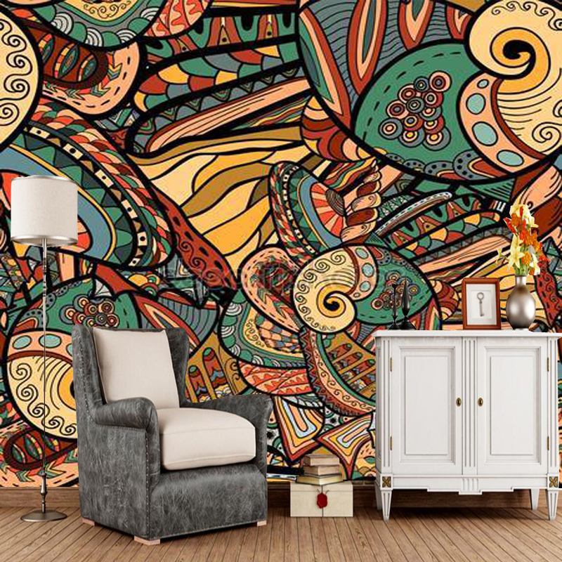 Abstract Pattern With Marine Inhabitants Murals For Living Room, Bedroom  Sofa Background PVC Papel De Parede
