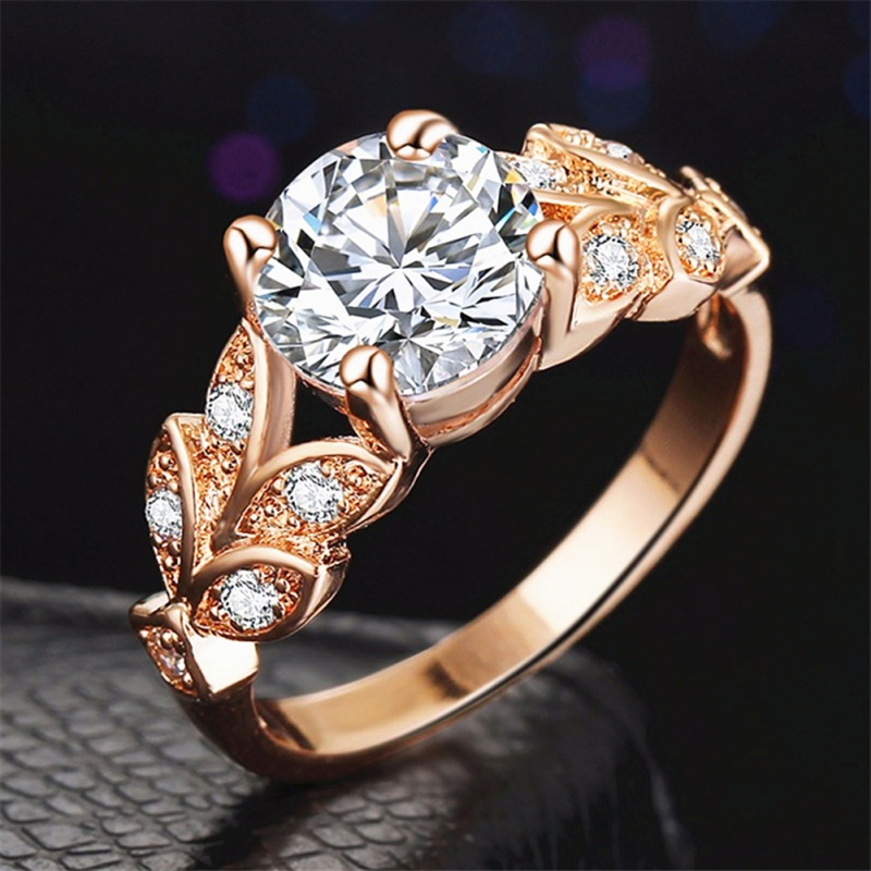 Wedding Crystal Silver Color Rings Leaf Engagement Ring Gold Color Copper Ring Fashion New Brand Bijoux Women Jewelry