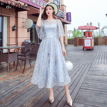 2019 Summer Beach Evening Dress Plus Size Elegant Tea-Length Silver Gray Lace Semi Formal Gowns