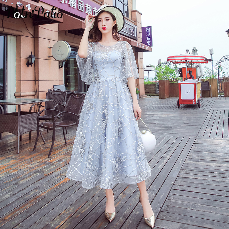 2019 Summer Beach   Evening     Dress   Plus Size Elegant Tea-Length Silver Gray Lace Semi Formal Gowns