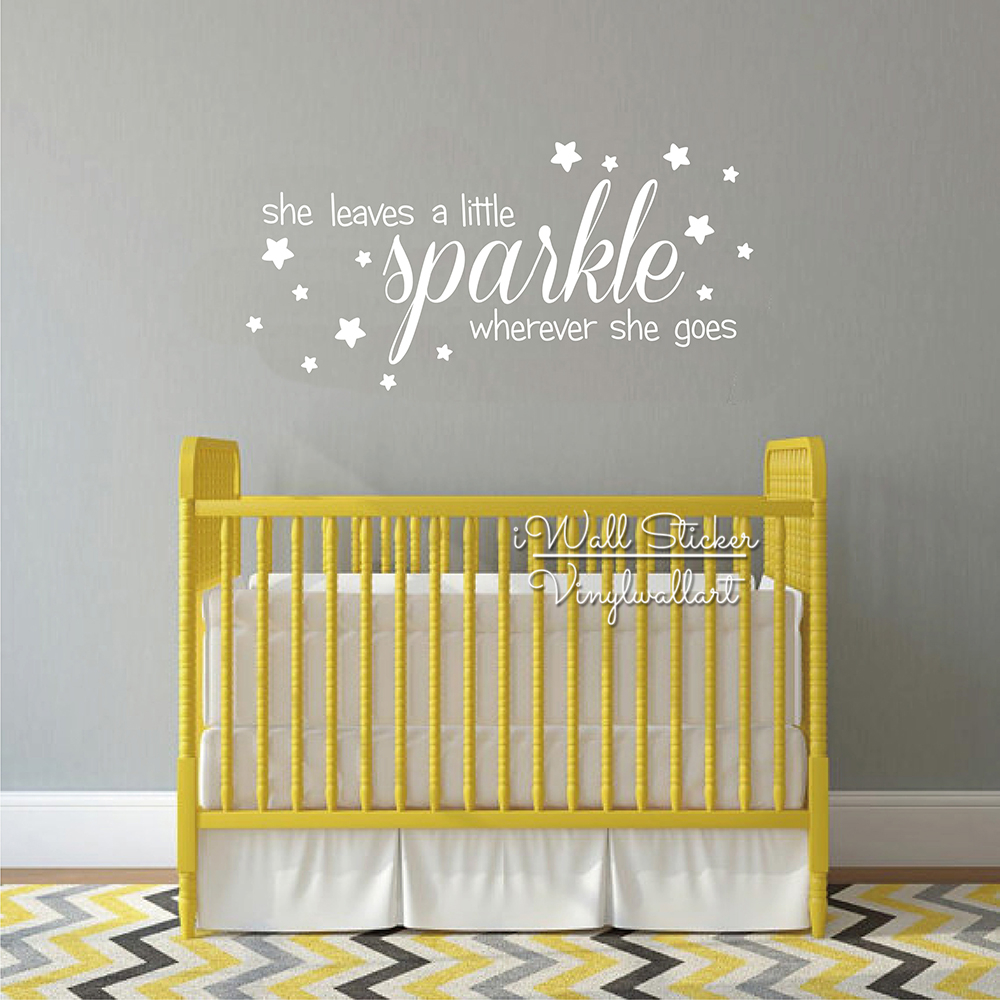 Sparkle Stars Quotes Wall Decal Baby Nursery Girls Quote Wall ...