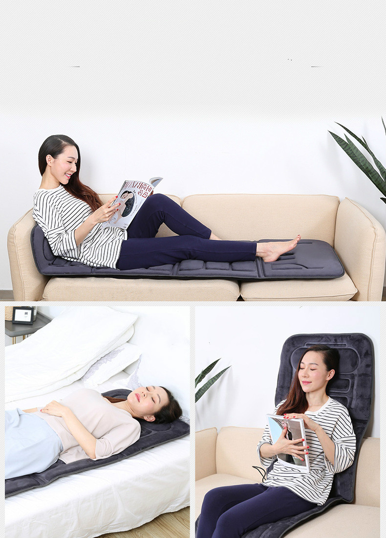Electric Vibrator Heating Back Neck Massager Mattress Waist Cushion Mat Home Office Relax Bed Pain Relief Health Care
