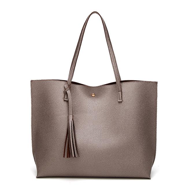 Fashion tassel handbag high quality PU leather women handbags large capacity pink gold totes lady's shoulder bag  bolsos mujer