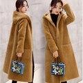 2016 Nuevo invierno Coreano mujeres de gran tamaño sueltos en el largo abrigo de lana femenino abrigo de lana de cordero
