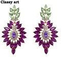 Мода Классический Бренд Новая Мода Элегантный Фиолетовый Кристалл Листьев Серьги Для Женщин