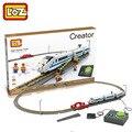 Loz bloques muchacho dimond mini eléctrico de alta velocidad ferroviaria tren bloques de construcción de juguetes educativos compatible con legoe