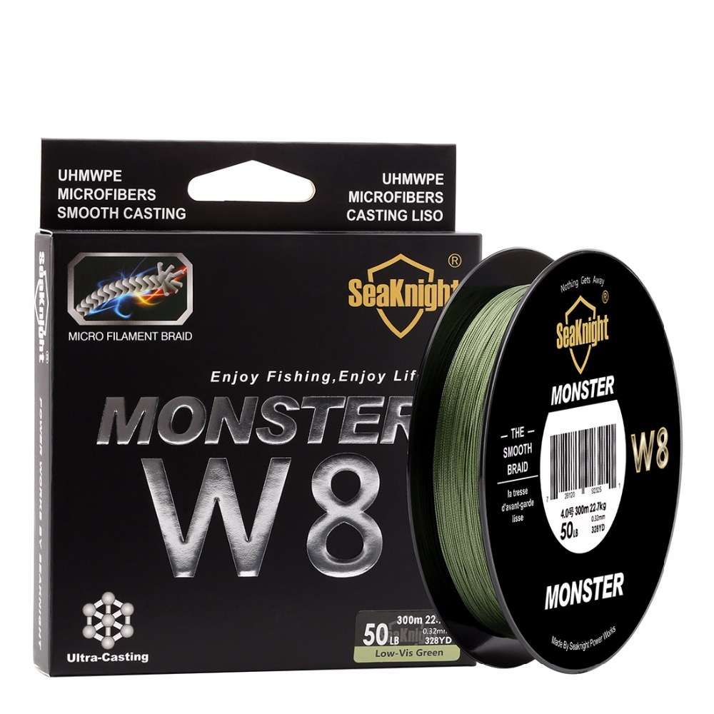 SeaKnight MONSTER W8 Fishing Line  300M  8 Strands Braided PE Line 15 20 30 40 50 80 100LB