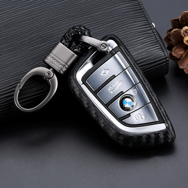 Car Key Case Cover Carbon Fiber For BMW X1 X3 X5 X6 Series 1 2 5 7 F15 F16 E53 E70 E39 F10 F30 G30 Car Key Fob Shell Protecor