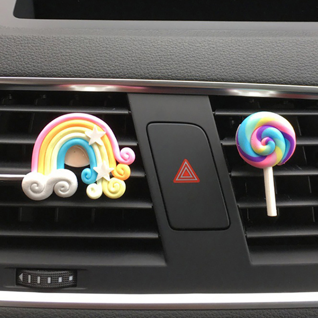 Car Accessories For Girls Car Smell Air Freshener Cute Rainbow Vent Clip Car Scent Diffuser Auto Interior Decoration Car Perfume