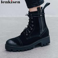 Lenkisen European motorcycle boots med heels metal zipper round toe genuine leather handsome girls autumn winter ankle boots L20