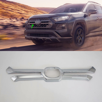 Car Accessories Exterior ABS Front Upper Grille Decorative Frame Cover Trim For Toyota RAV4 2019 Adventure Car-styling