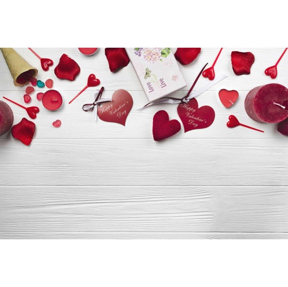 Laeacco деревянные доски стены любовь сердца свечи День Святого Валентина этап сцены фото фонов фотографии фоны для фотостудии