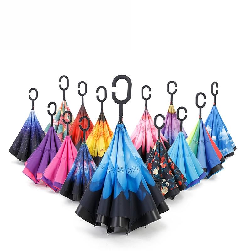 Home Double Layer Inverted Reverse Folding Umbrella For Womens Mens Windproof Rain Anti-uv Reverse C Handle Umbrella Self Stand Volume Large