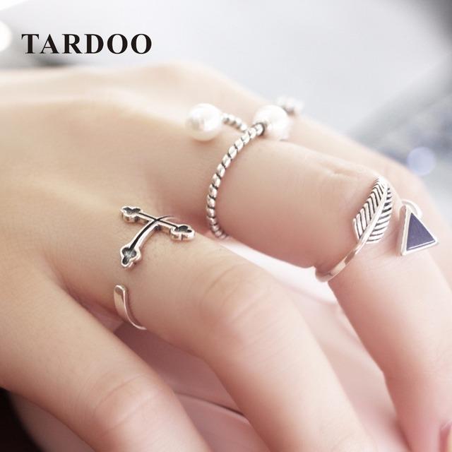 TARDOO Minimalista 925 Prata Esterlina Amor Anéis Conjuntos para As Mulheres Pérola Declaração de Estilo Punk Cruz Anel Fine Jewelry