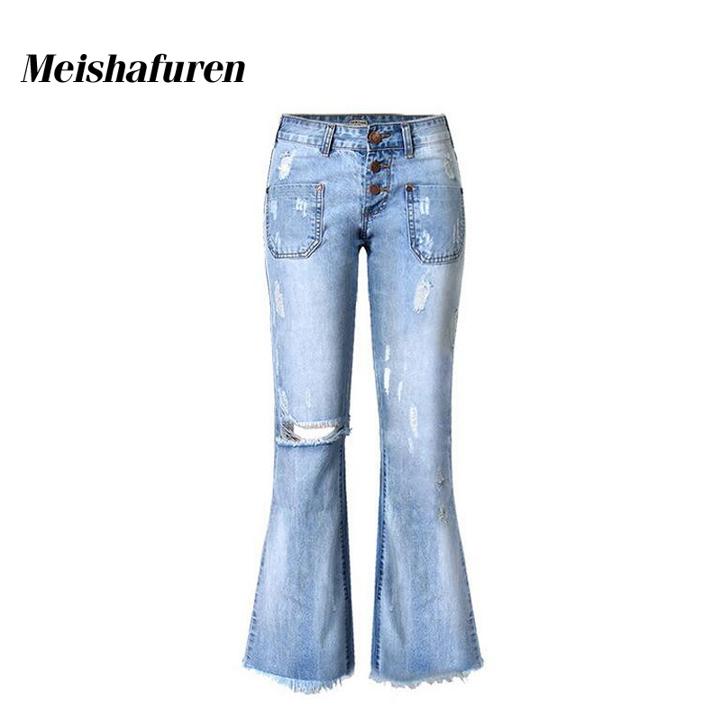 Donna Plus Size Jeans Women Flare Jeans Ripped Knee Hole Low Waist Tassels Jeans 3 Buttons Fly Flare Pants Denim Trousers K110S