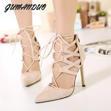 GUMANDUO New women pumps high heels shoes woman gladiator cross strapped pointed toe party wedding dress