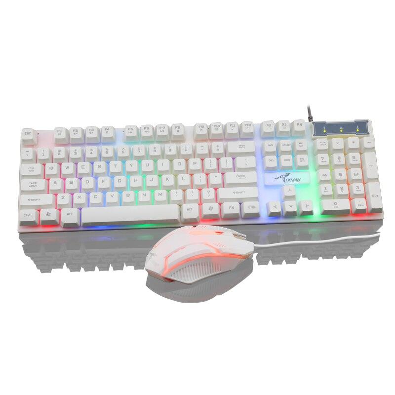USB проводной клавиатуры и мыши combo белый колпачки для Механическая игровая клавиатура 1200 Точек на дюйм мыши для ноутбука игрового ПК ...
