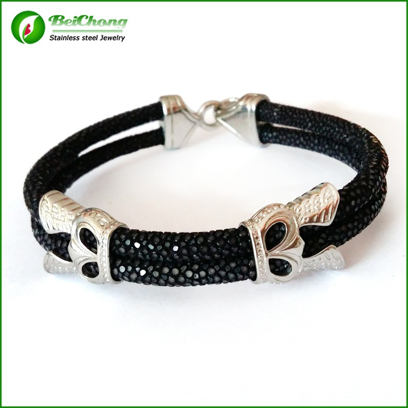 -10pcs-Fashion-Men-Leather-Jewelry-5mm-Width-Black-Leather-Stingray-Silver-Hook-Buckle-Bracelet-Bangle (2)