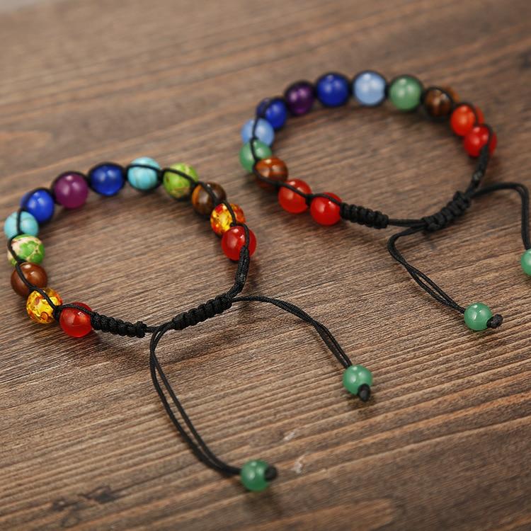SEDmart DIY 7 rruaza shumëngjyrësh guri natyral Rrathë byzylyk - Bizhuteri të modës - Foto 3