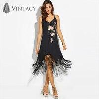 Vintacy Beach Dress Black Print Floral V Neck Spaghetti Strap A Line Sexy Women Dress Summer