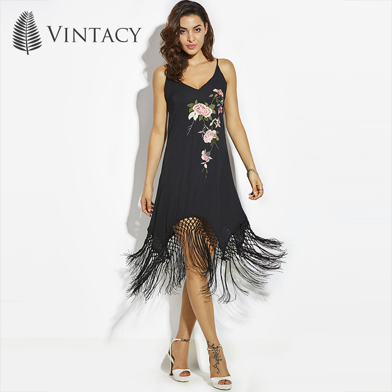 Vintacy Beach Dress Black Print Floral V Neck Spaghetti Strap A Line Sexy Women Dress Summer Open Back Tassel Party Beach Dress